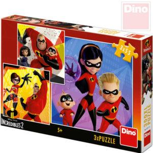 DINO Puzzle 3x55 dílků Úžasňákovi 18x18cm skládačka 3v1 v krabici