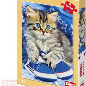 DINO Puzzle XL 300 dílků Kotě v modré botě foto 33x47cm skládačka v krabici
