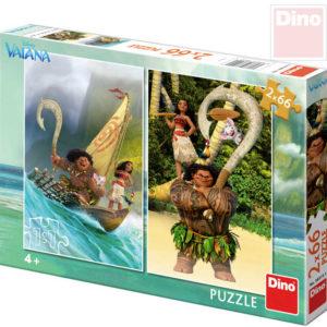 DINO Puzzle 2x66 dílků Vaiana 22x32,5cm skládačka 2v1 v krabici