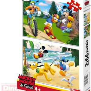 DINO Puzzle 2x66 dílků Mickey sportuje 32,5x22cm skládačka 2v1