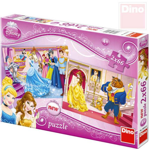 DINO Puzzle 2x66 dílků Princezny Popelka a kráska 32,5x22cm skládačka 2v1