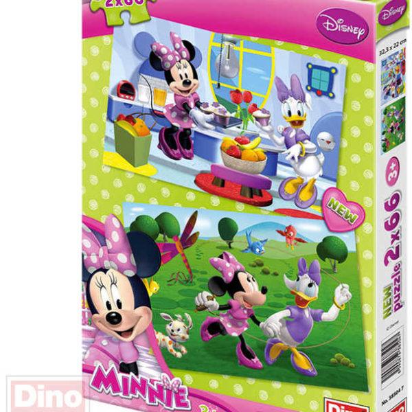 DINO Puzzle 2x66 dílků Kamarádka Minnie 32,5x22cm skládačka 2v1