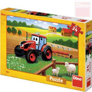 DINO Puzzle 24 dílků Traktor Zetor orba na poli 26x18cm skládačka v krabici