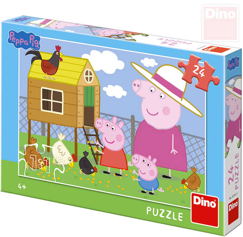 4d617d22f DINO Puzzle 24 dílků Peppa Pig Slepičky 26x18cm skládačka v krabici ...