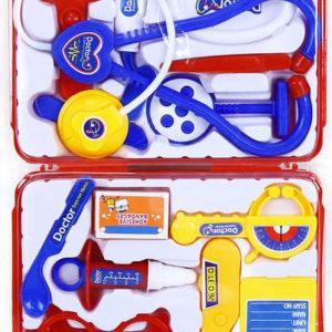 Kufřík červený doktorský plastový set dětské lékařské potřeby plast