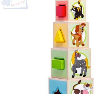WOODY DŘEVO Věž zvířátka set 5 kostek s vkládacími tavry DŘEVĚNÉ HRAČKY