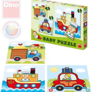 DINO Puzzle baby autíčka 18x18cm 3v1 skládačka set 12 dílků v krabici pro nejmenší
