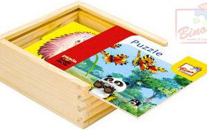 BINO DŘEVO Puzzle (Krteček) Krtek a Panda 16 dílků v krabičce barevné