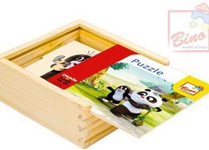 BINO DŘEVO Puzzle (Krteček) Krtek a Panda 16 dílků v krabičce natur