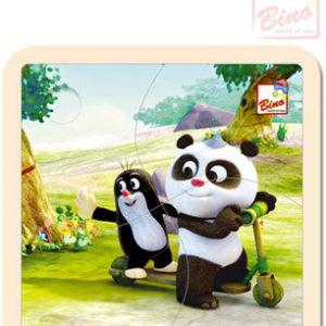 BINO DŘEVO Puzzle (Krteček) Krtek a Panda koloběžka 4 dílky
