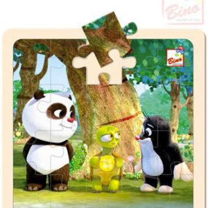 BINO DŘEVO Puzzle (Krteček) Krtek a Panda s želvou 20 dílků
