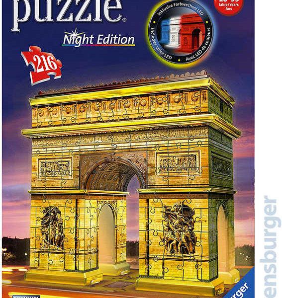 RAVENSBURGER Puzzle 3D Vítězný Oblouk Noční edice 216 dílků na baterie LED Světlo