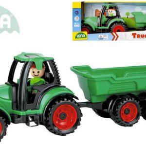 LENA Truckies traktor funkční s vlečkou 32cm set s panáčkem v krabici 1625