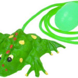 Žába gumová 11cm skákající s balonkem na stlačený vzduch