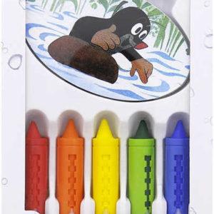 Kreativní set (Krteček) Krtkovy pastelky 5ks + houbička do vany vodou smývatelné