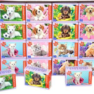 Minipuzzle Pejsi a kočičky 54 dílků 16,5x11cm skládačka v krabičce 8 druhů