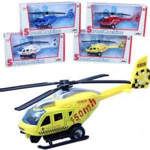 Vrtulník kovový 12cm na setrvačník 1:48 model 4 barvy v krabičce