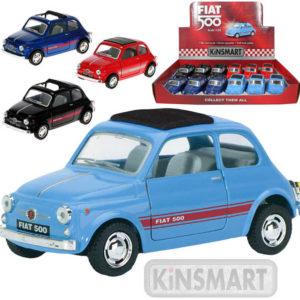 KINSMART Auto model 1:24 FIAT 500 kov PB 12cm zpětný nátah 4 barvy