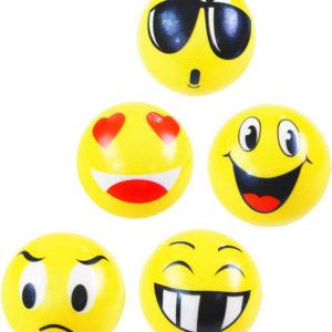 Míček lehký s obličejem 5cm žlutý smajlík soft pěnový 5 druhů