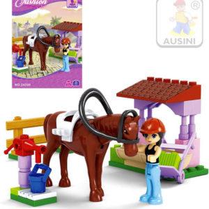AUSINI Stavebnice DÍVČÍ SVĚT Koník se stříškou sada 45 dílků + 1 figurka s doplňky plast