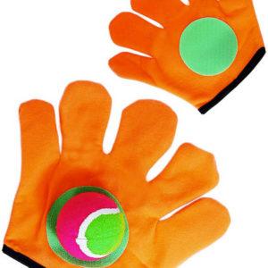 Hra Catch ball set rukavice oranžové chytací 2ks + míček v sáčku