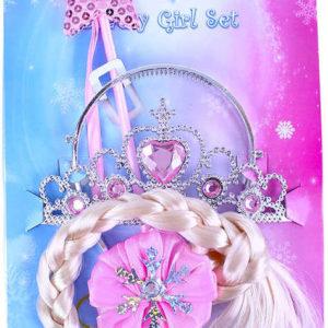 KARNEVAL Sada princezna růžová cop korunka hůlka KARNEVALOVÝ DOPLNĚK