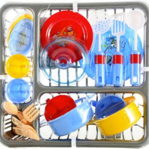 Set nádobí dětské barevné + odkapávač plastový