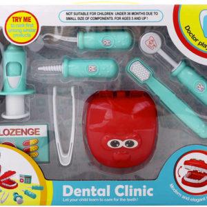 Zubní ordinace doktorský set dětské lékařeké potřeby 8ks plast v krabici