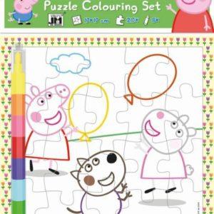 JIRI MODELS Omalovánkové puzzle set s voskovkami Peppa Pig
