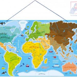 WOODY DŘEVO Svět v obrázcích 77x47cm Hra Puzzle naučné 2v1 mapa světa 86 dílků