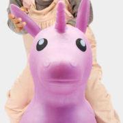 LUDI Baby jednorožec růžový skákací 61x53x24cm pro miminko