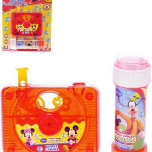 Průhledná kamera bublifuk set s roztokem foťák 10x8cm Mickey Mouse + Minnie
