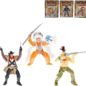 Divoký západ figurka akční plastová kovboj / indián se zbraní 10cm 6 druhů
