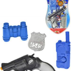 Policejní set pistole klapací 18cm + foťák/dalekohled s doplňky 4ks na kartě