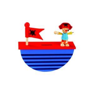BINO DŘEVO Pokladnička Pirát * DŘEVĚNÉ HRAČKY *