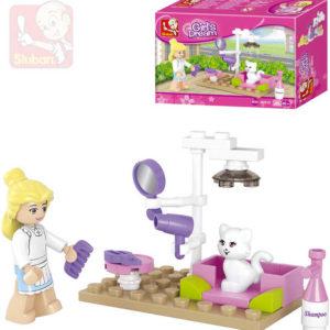 SLUBAN Stavebnice GIRLS kočičí salon set 30 dílků + 1 figurka plast