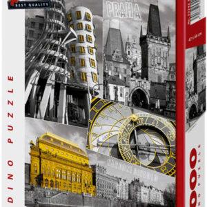 DINO Puzzle 1000 dílků Praha koláž 47x66cm skládačka v krabici