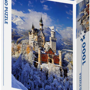 DINO Puzzle 1000 dílků Zimní Neuschwanstein 47x66cm skládačka v krabici