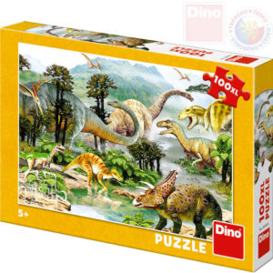 DINO Puzzle 100 dílků XL Život dinosaurů 47x33cm skládačka v krabici