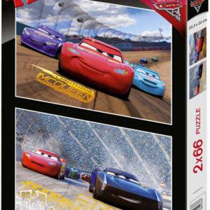 DINO Puzzle 2x66 dílků Cars3 (Auta) 32x22cm skládačka 2v1 v krabici
