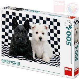 DINO Puzzle 500 dílků Černobílí psi foto 47x33cm skládačka v krabici