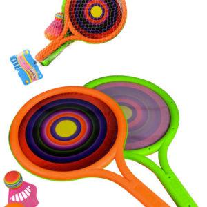 Rakety barevné 39cm 1 pár set se 2 míčky na badminton a soft tenis plast