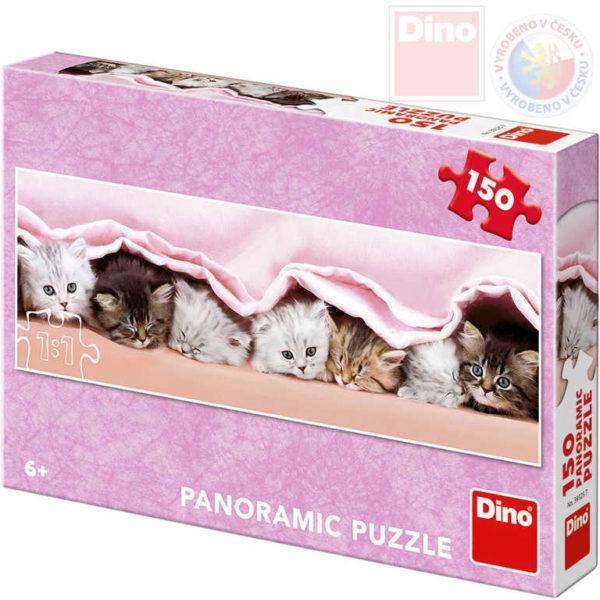 DINO Puzzle panoramatické 66x23cm Koťátka pod dekou 150 dílků v krabici