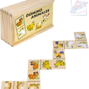 WOODY DŘEVO Hra domino Statek zvířátka 28 dílků v dřevěné krabičce