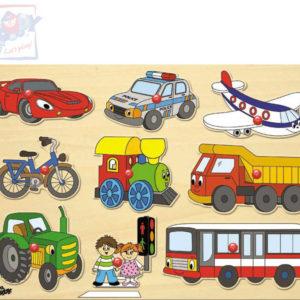 WOODY DŘEVO Baby puzzle vkládací Dopravní prostředky na desce 9 dílků