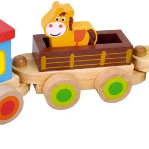 BINO DŘEVO Baby vláček set mašinka + 2 vagonky se zvířátky pro miminko