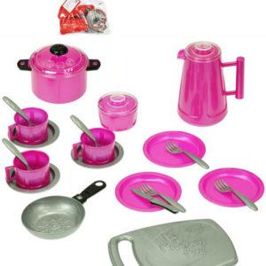 Dětské barevné nádobí set 24ks s příbory plastové 2 barvy v sáčku