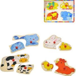 DŘEVO Baby puzzle vkládací zvířátka 8 dílků maminka s mládětem 2 druhy