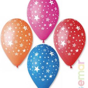 GEMAR Balónek nafukovací 30cm Pastelový potisk HVĚZDY různé barvy 1ks