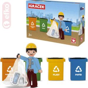 EFKO IGRÁČEK Třídíme odpad set figurka s doplňky STAVEBNICE